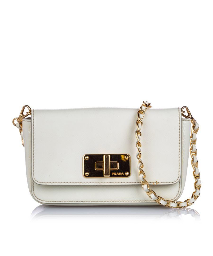 Image for Vintage Prada Saffiano Leather Crossbody Bag White