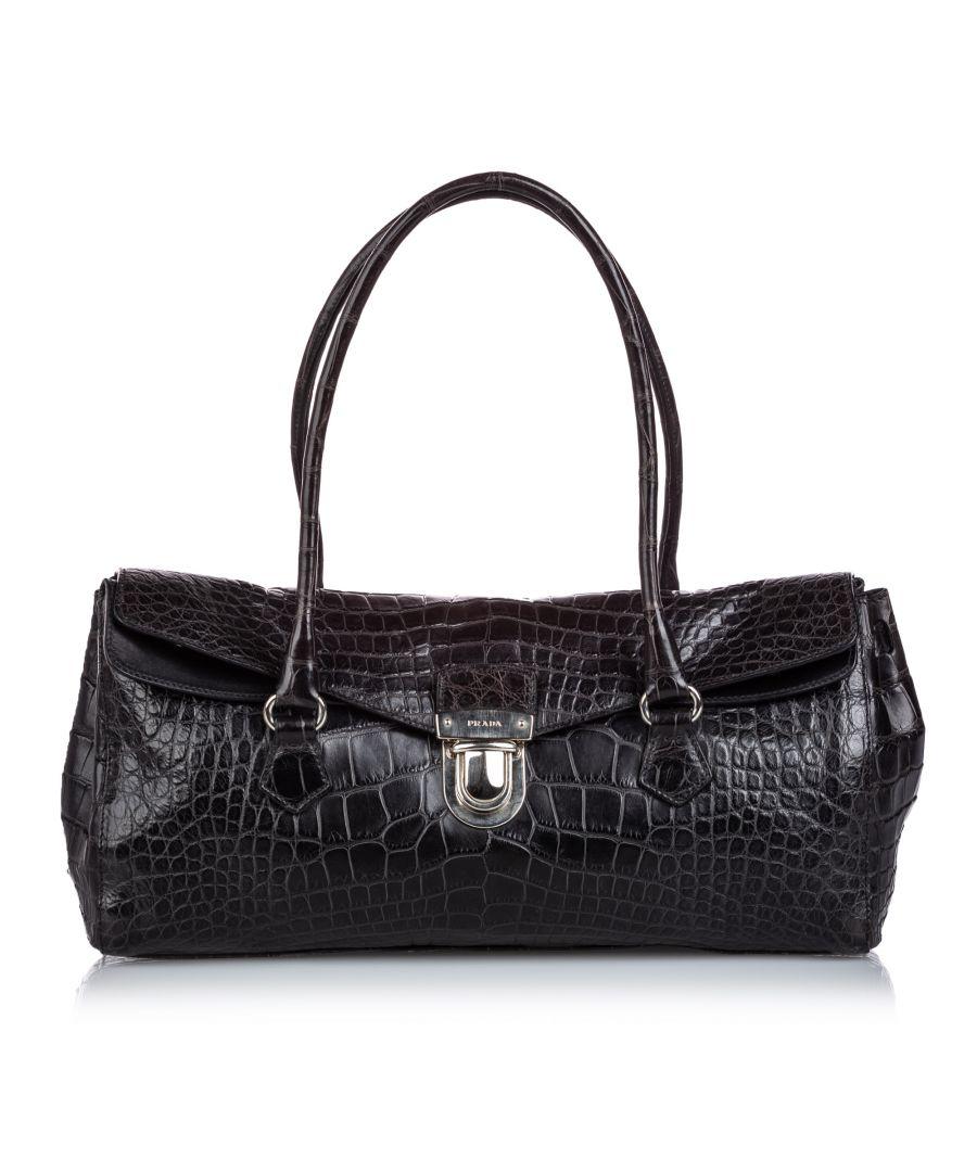 Image for Vintage Prada Crocodile Embossed Easy Shoulder Bag Black