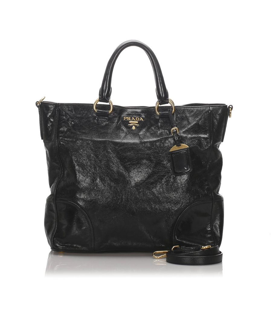 Image for Prada Vitello Shine Satchel Black