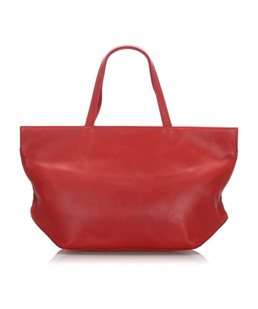 Image for Celine Leather Tote Bag Red
