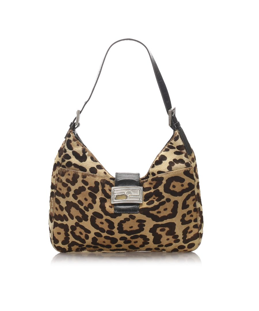 Image for Vintage Fendi Leopard Print Pony Hair Shoulder Bag Brown