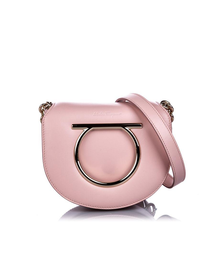 Image for Vintage Ferragamo Calfskin Gancini Flap Bag Pink