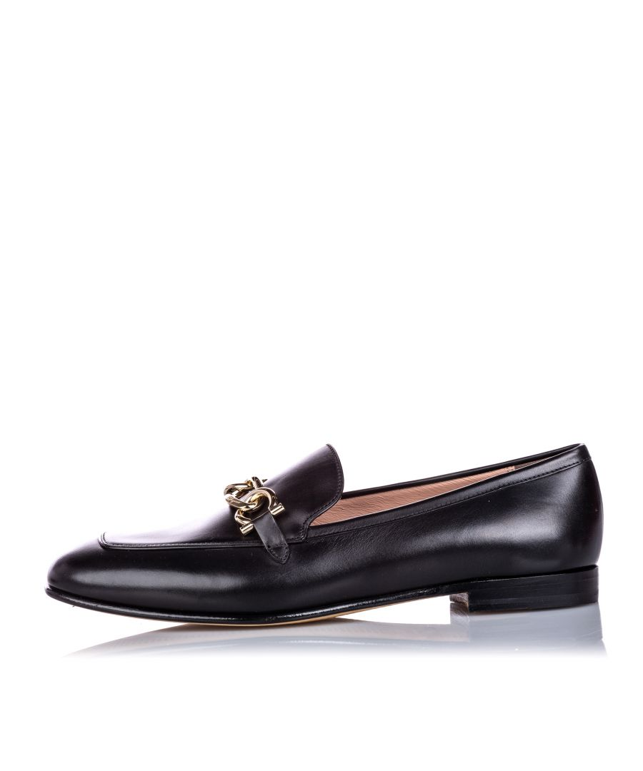 Image for Vintage Ferragamo Leather Gancini Chain Moccasin Black