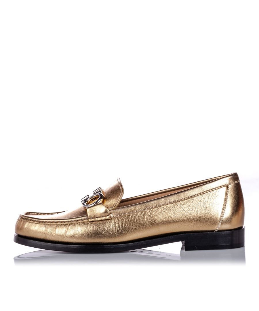 Image for Vintage Ferragamo Metallic Leather Gancini Moccasin Gold