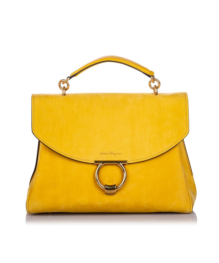 Image for Vintage Ferragamo Nubuck Leather Margot Satchel Yellow