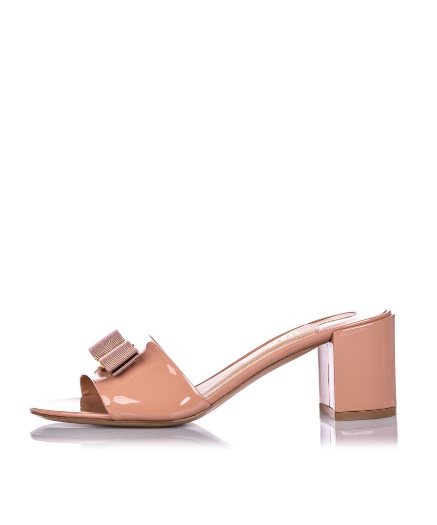 Image for Vintage Ferragamo Patent Leather Vara Bow Mule Sandal Pink