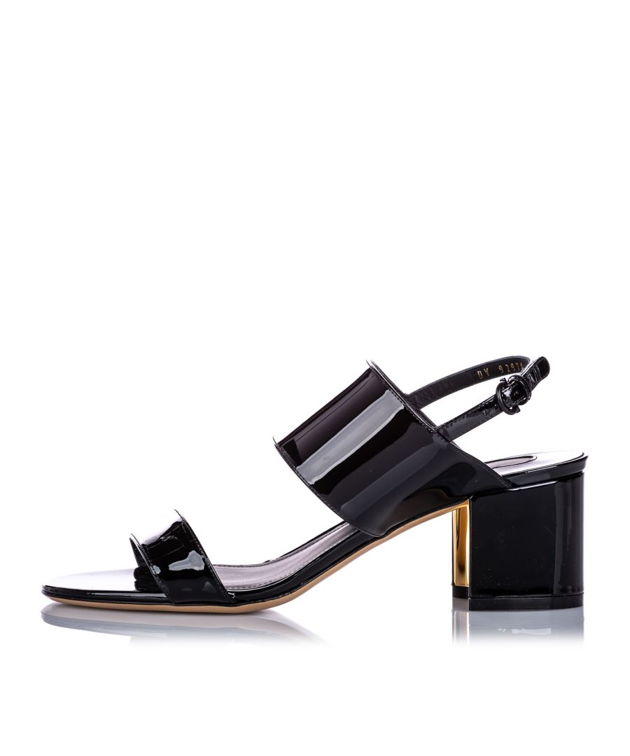 Image for Vintage Ferragamo Two-Banded Patent Leather Flower Heel Sandal Black