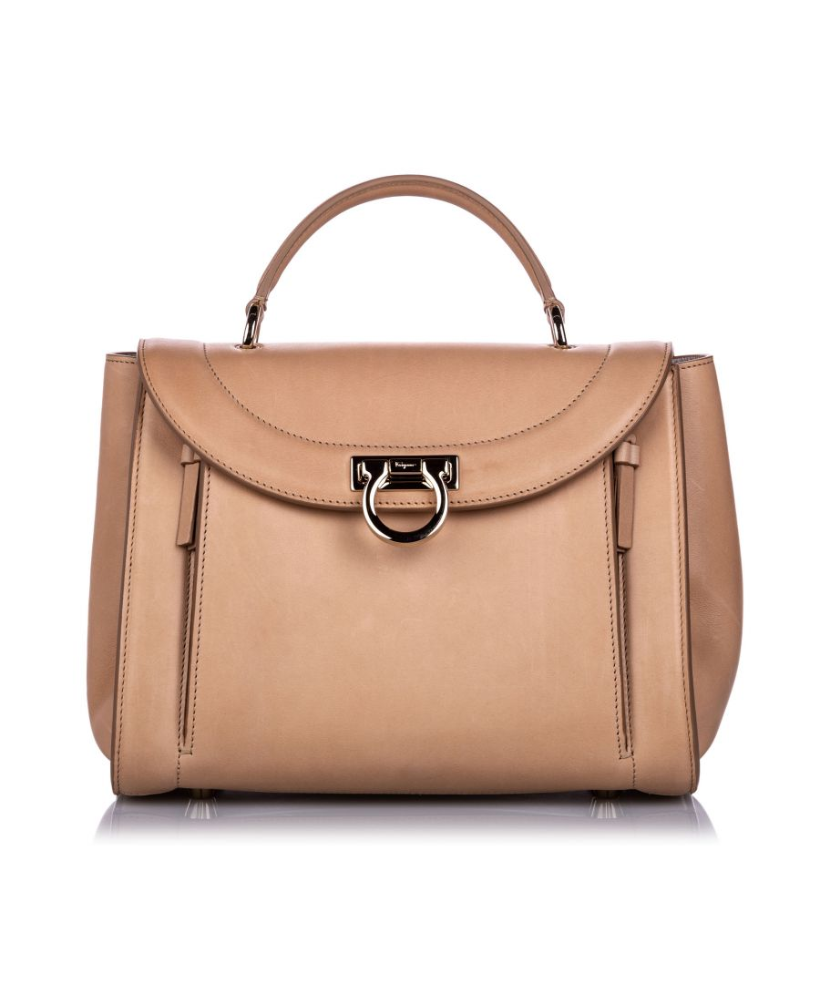 Image for Ferragamo Calfskin Sofia Rainbow Satchel Brown