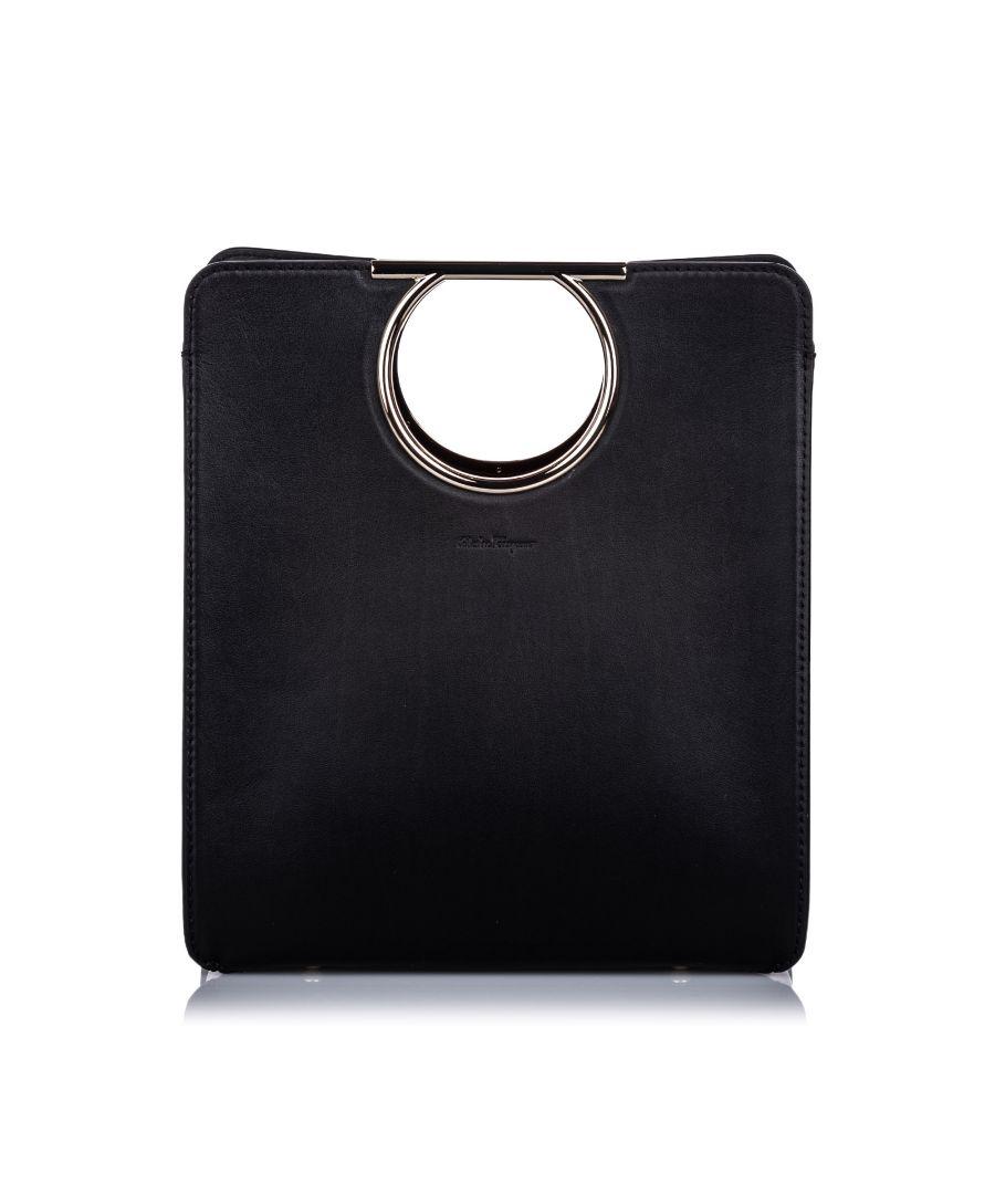 Image for Vintage Ferragamo Leather Gancini Handle Tote Bag Black