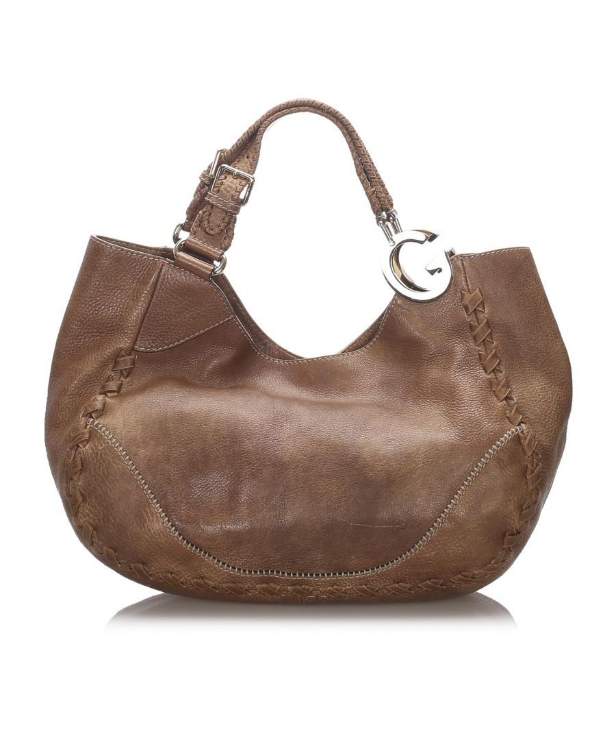 Image for Vintage Gucci Leather Charlotte Tote Bag Brown