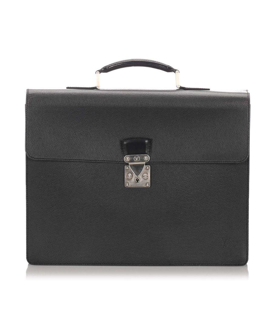 Image for Vintage Louis Vuitton Taiga Serviette Kourad Briefcase Black