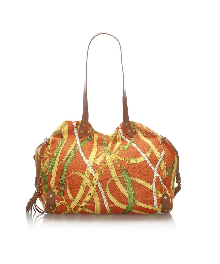 Image for Vintage Miu Miu Printed Canvas Tote Orange