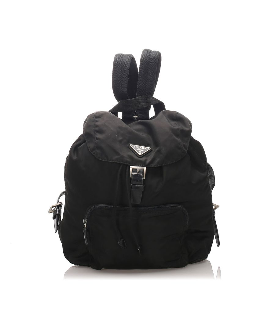 Image for Prada Tessuto Drawstring Backpack Black
