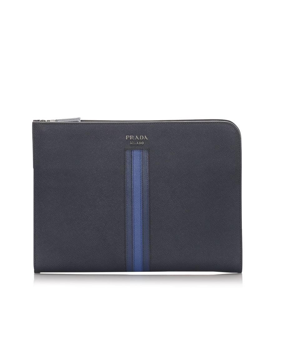 Image for Vintage Prada Saffiano Document Case Blue