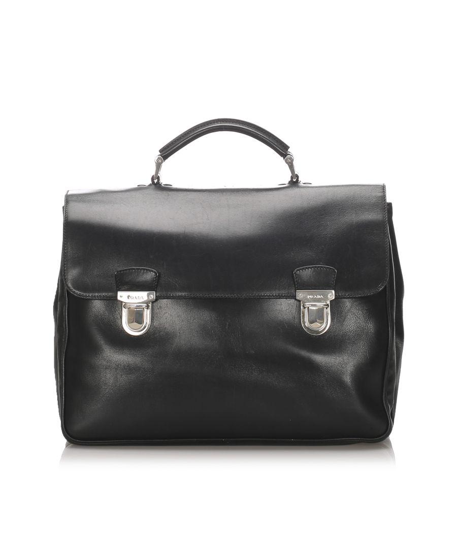Image for Vintage Prada Leather Business Bag Black