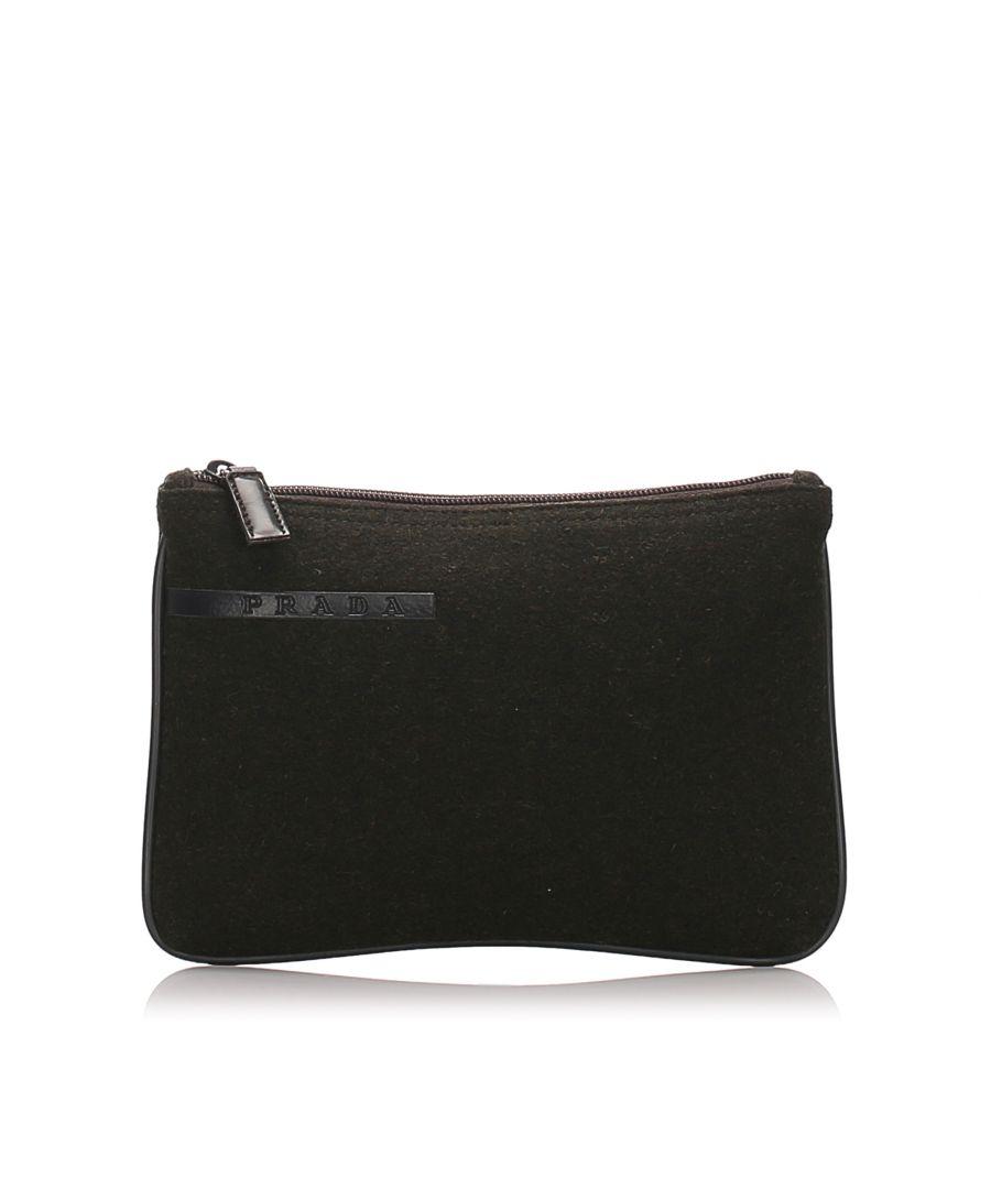 Image for Vintage Prada Canvas Clutch Bag Black