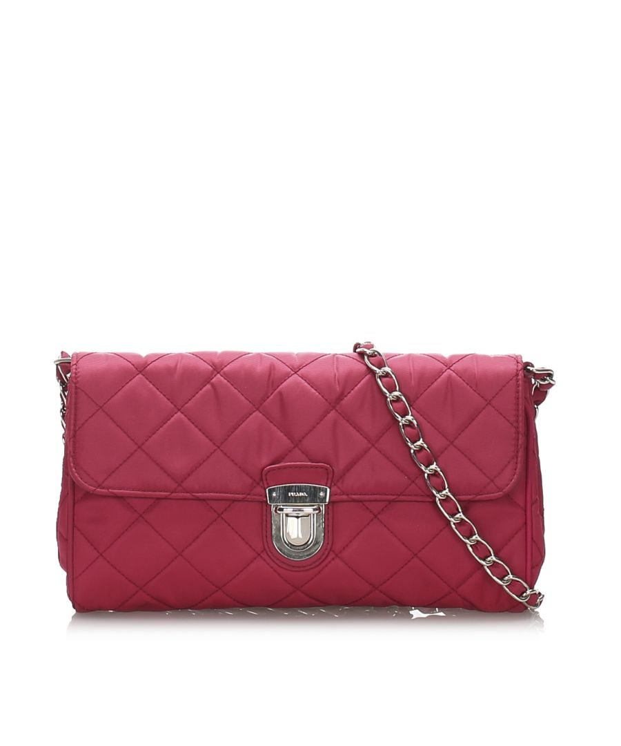 Image for Vintage Prada Quilted Tessuto Crossbody Bag Red