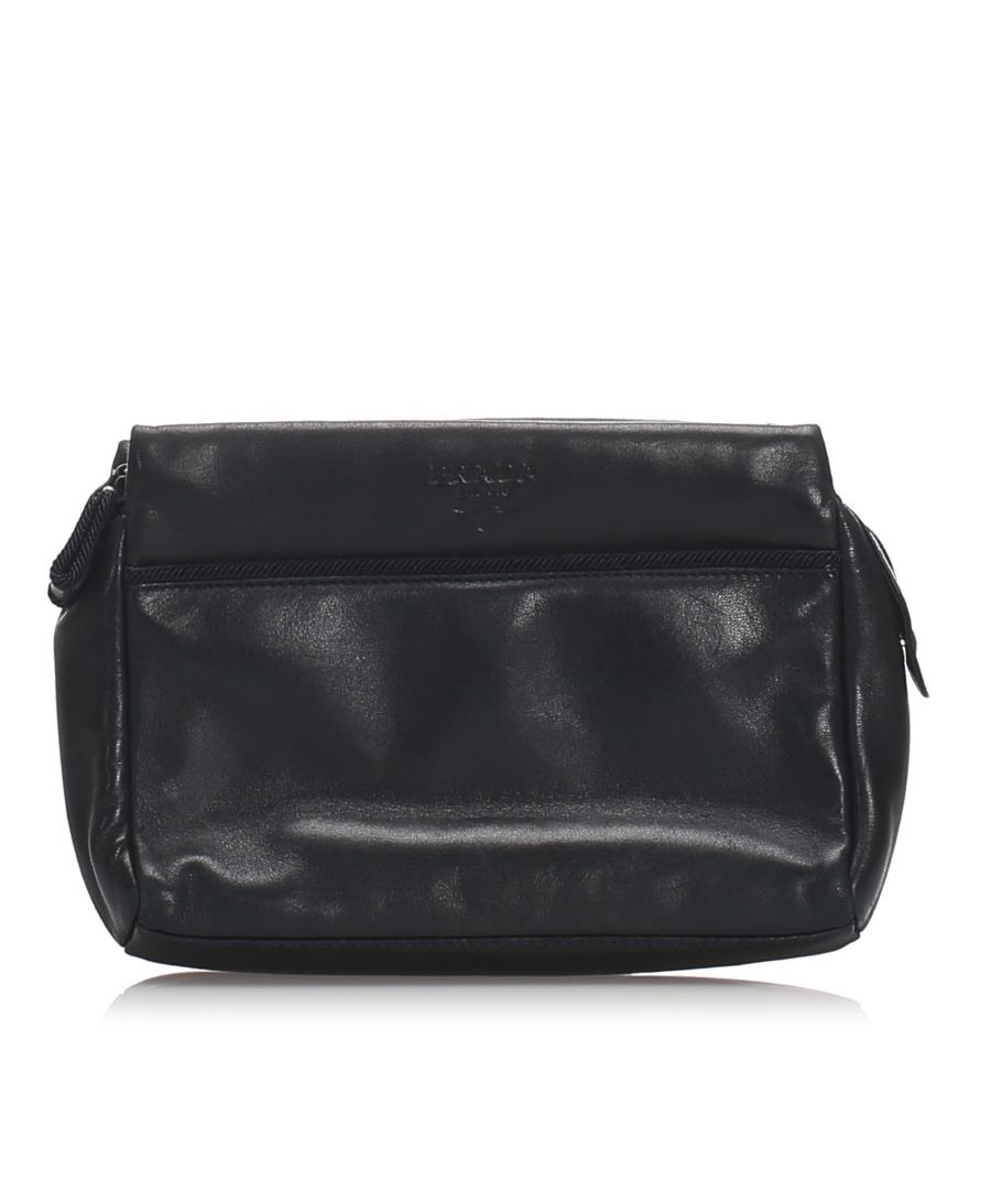 Image for Vintage Prada Leather Clutch Black