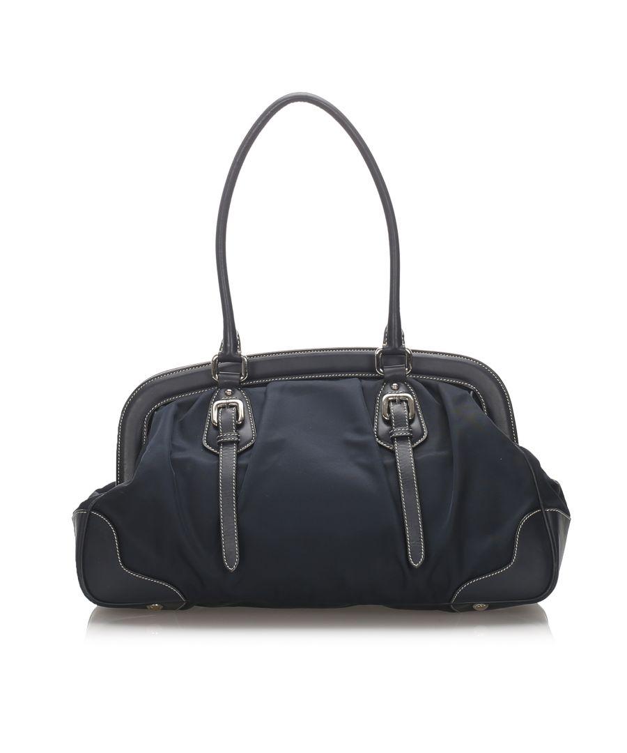 Image for Vintage Prada Tessuto Frame Handbag Blue
