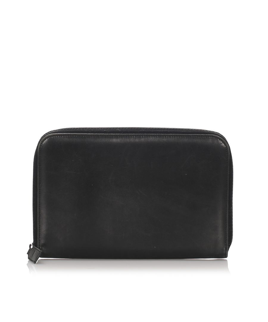 Image for Vintage Prada Leather Organizer Black
