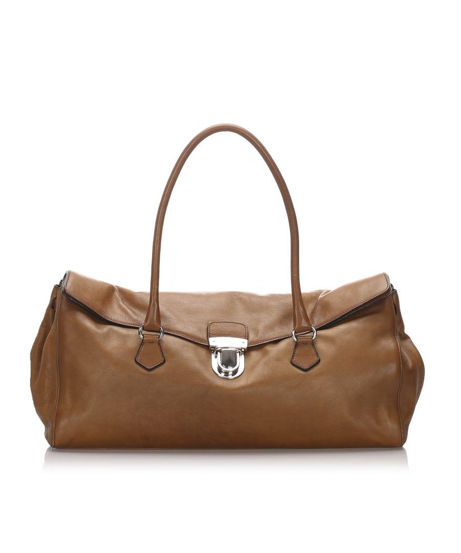 Image for Vintage Prada Leather Easy Shoulder Bag Brown