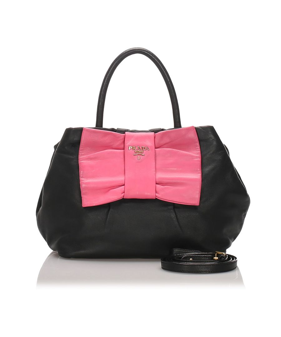 Image for Prada Leather Fiocco Bow Satchel Black