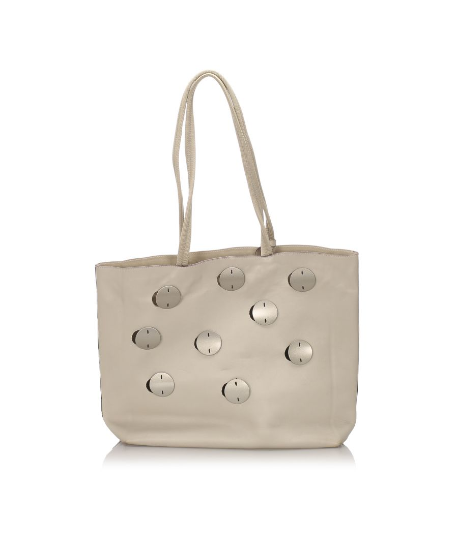 Image for Vintage Prada Leather Tote Bag White