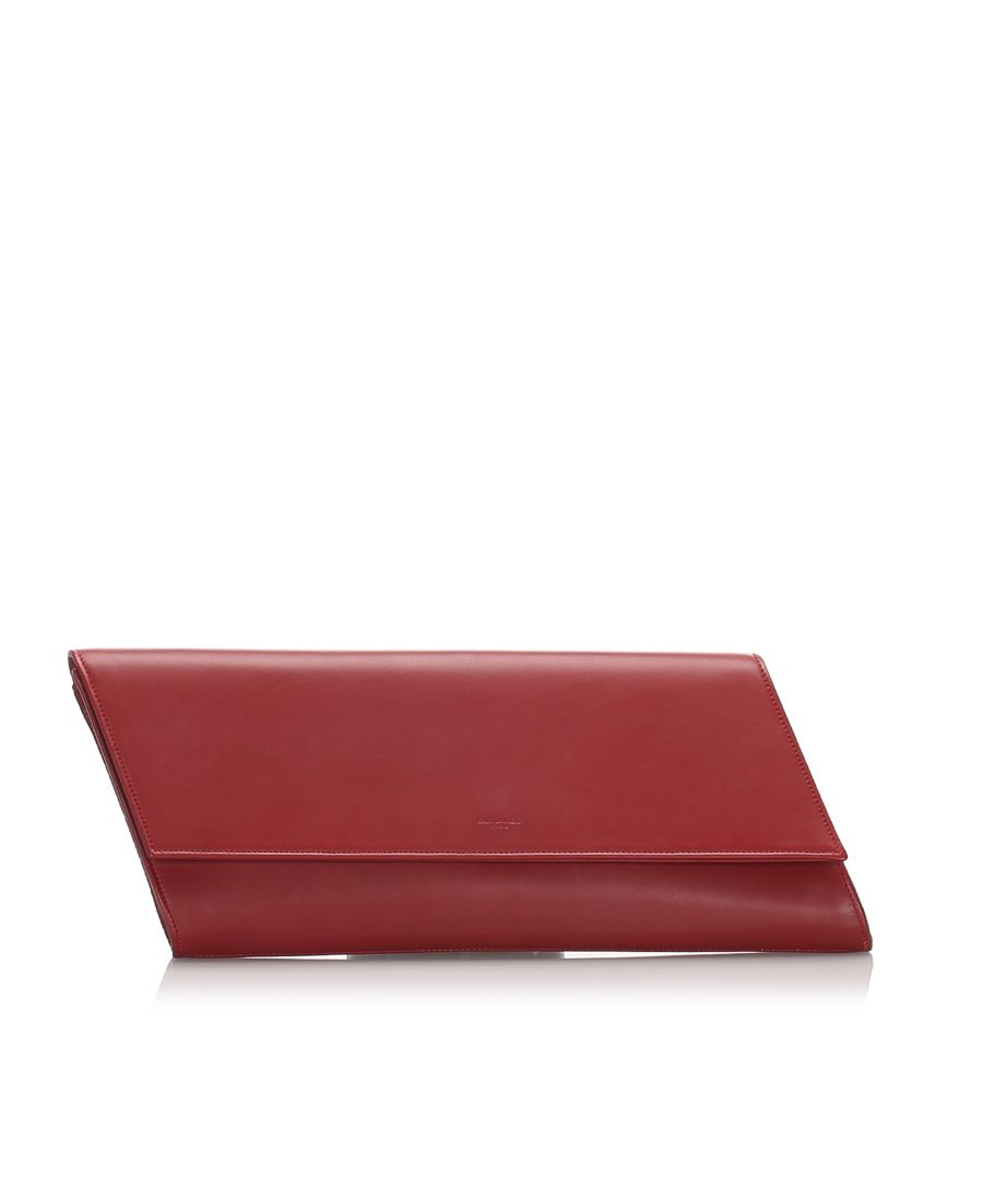 Image for Vintage YSL Leather Diagonale Clutch Bag Red