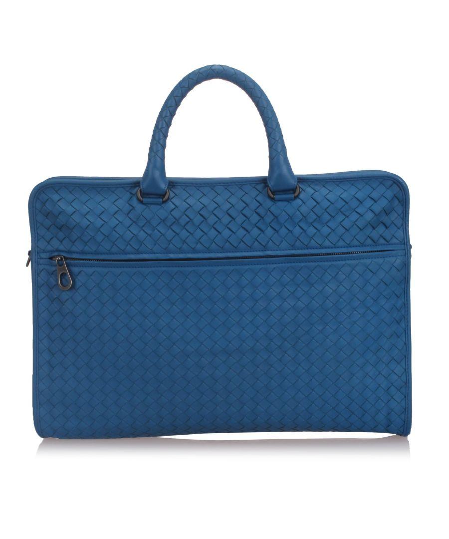 Image for Bottega Veneta Intrecciato Leather Business Bag Blue