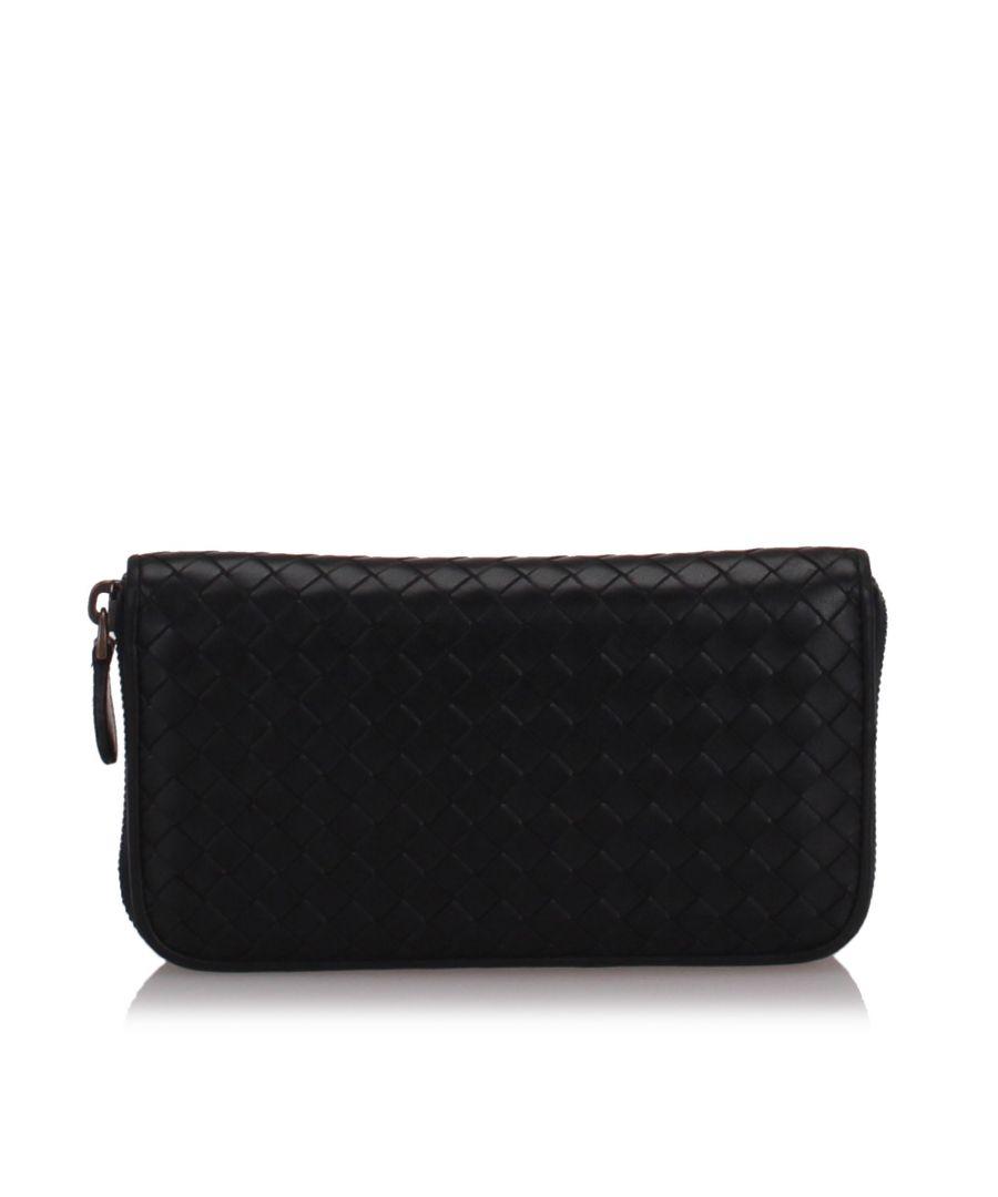 Image for Bottega Veneta Intrecciato Calfskin Zip Around Wallet Black