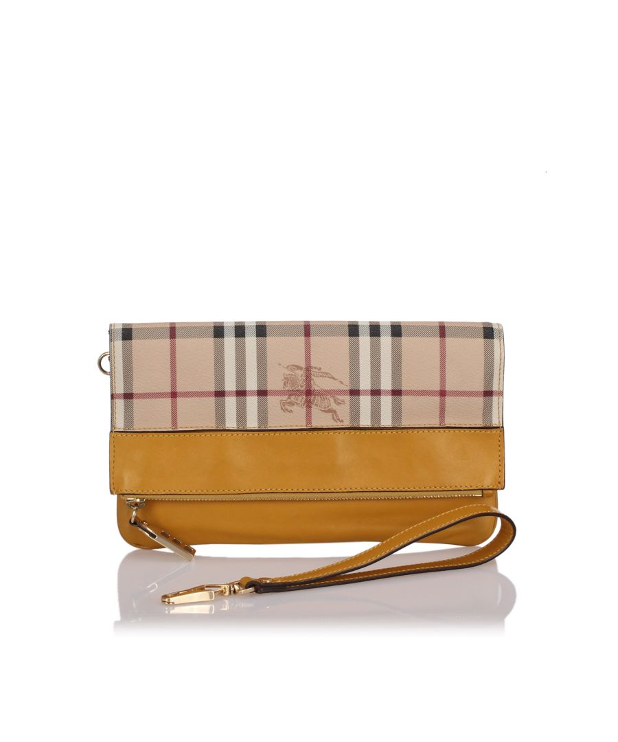 Image for Burberry Haymarket Check Adeline Clutch Bag Brown