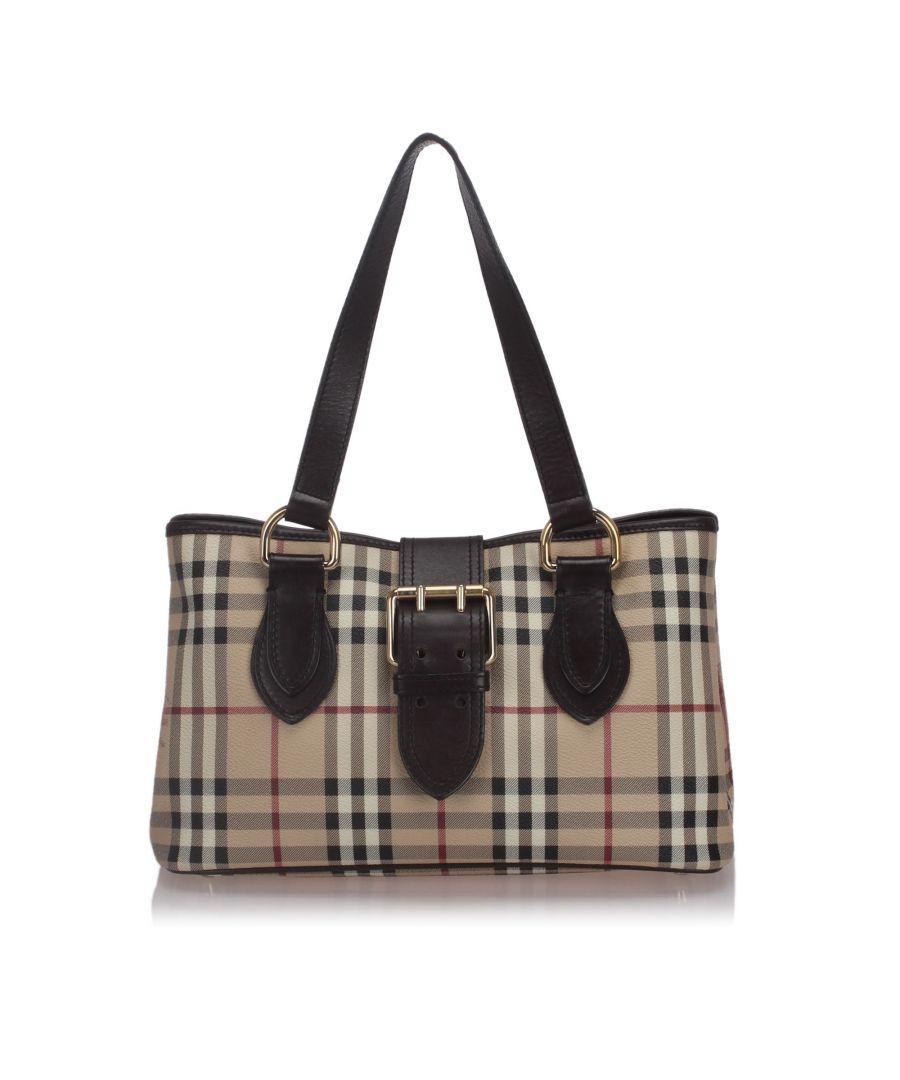 Image for Burberry Haymarket Check Canvas Shoulder Bag Brown