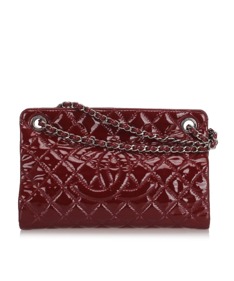 Image for Chanel CC Patent Leather Tote Bag Red