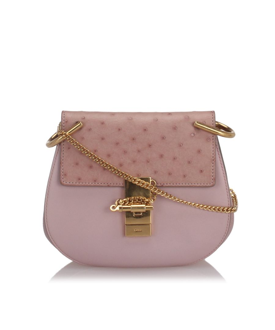 Image for Chloe Ostrich Leather Drew Crossbody Bag Pink