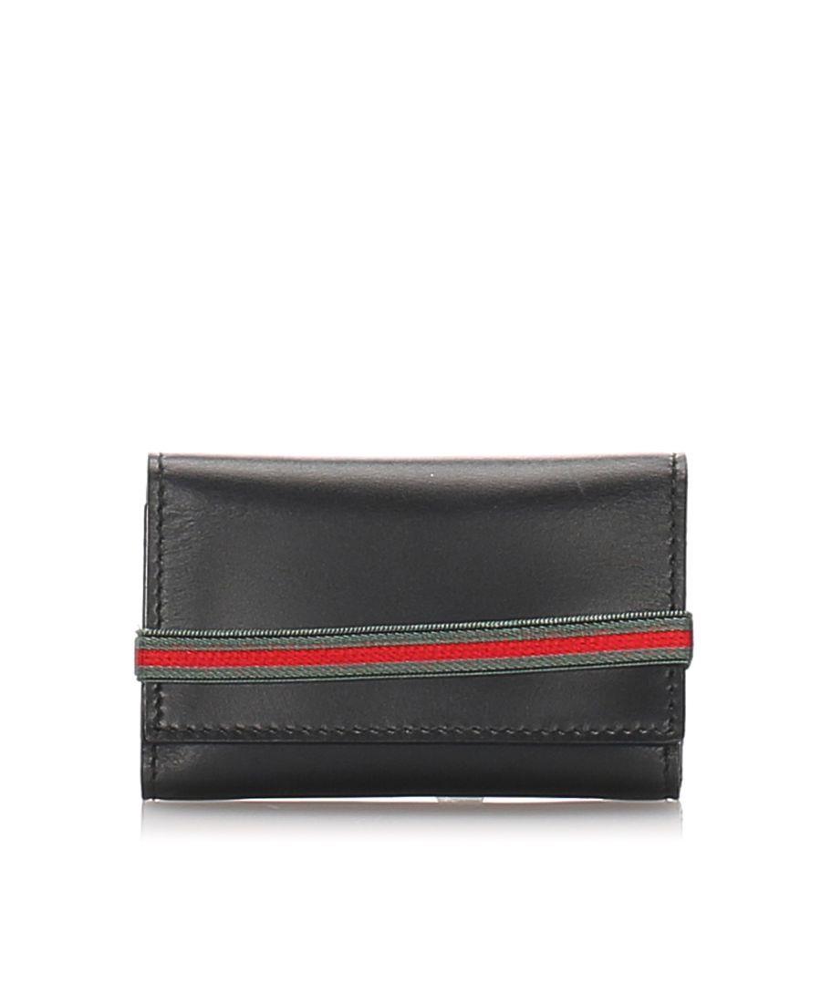 Image for Vintage Gucci Leather Web Key Holder Black