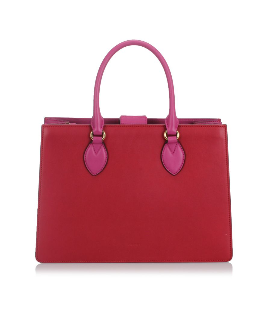 Image for Gucci Bicolor Leather Linea A Handbag Red