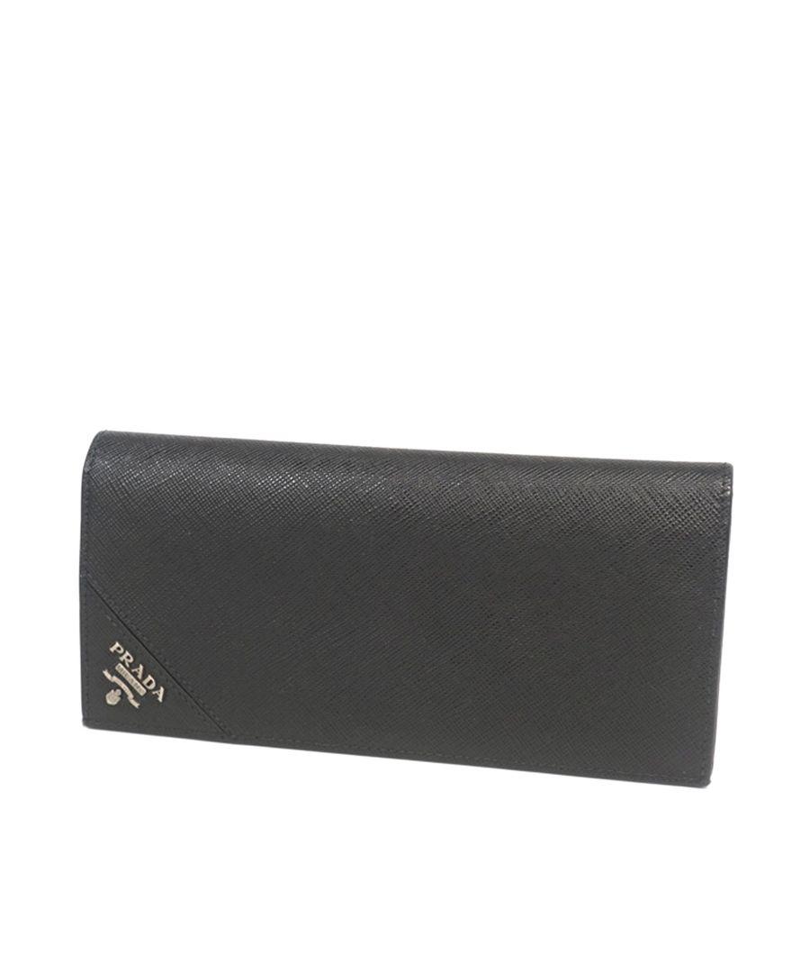 Image for Vintage Prada Saffiano Vertical Wallet Black