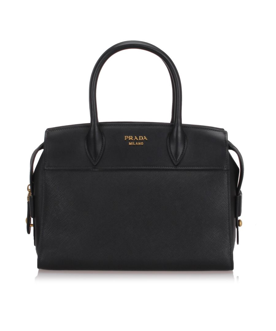 Image for Prada Saffiano Leather Esplanade Tote Bag Black