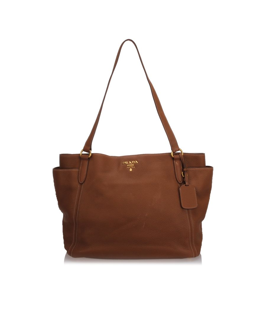 Image for Prada Vitello Daino Tote Bag Brown