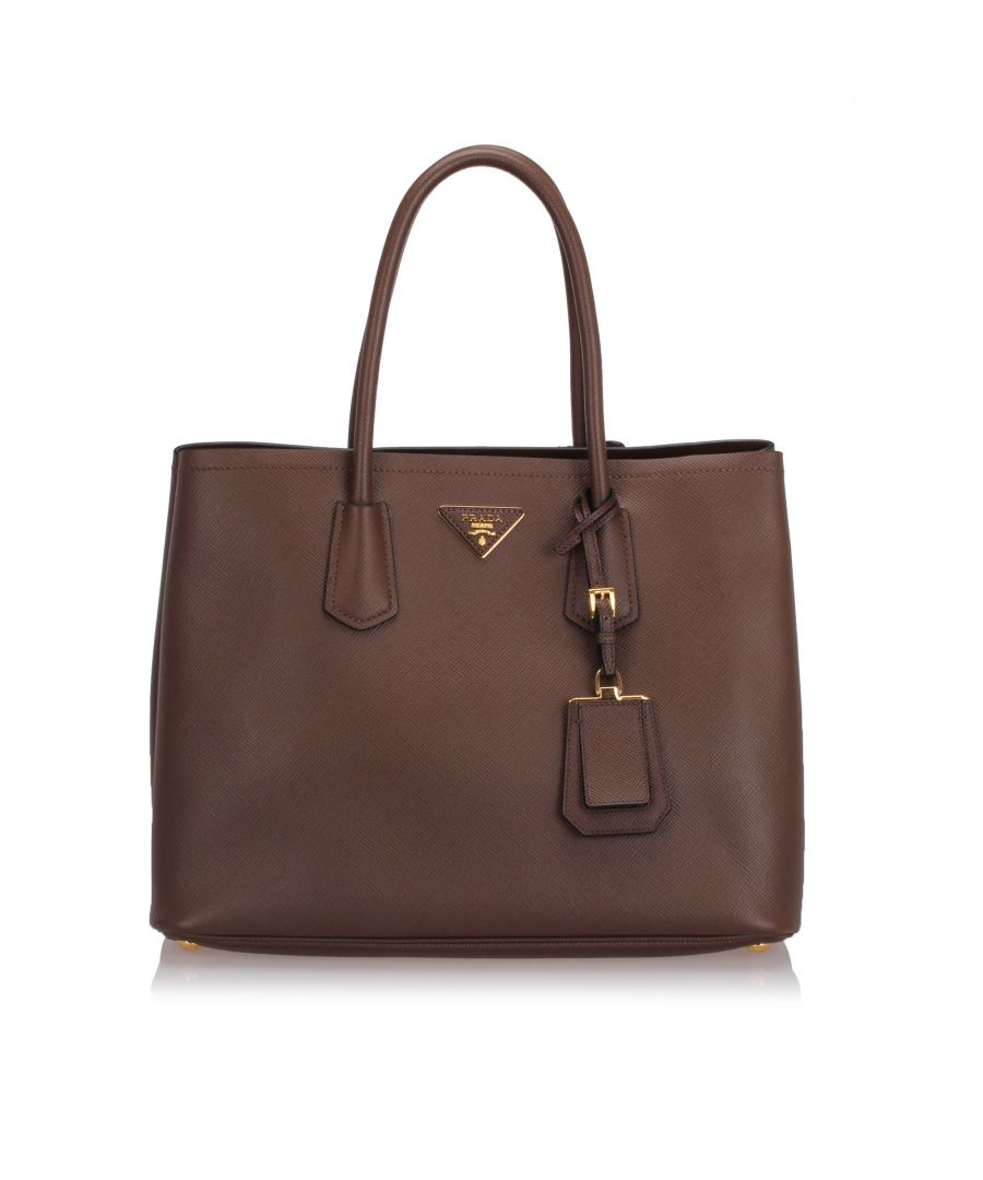 Image for Prada Saffiano Cuir Tote Bag Brown