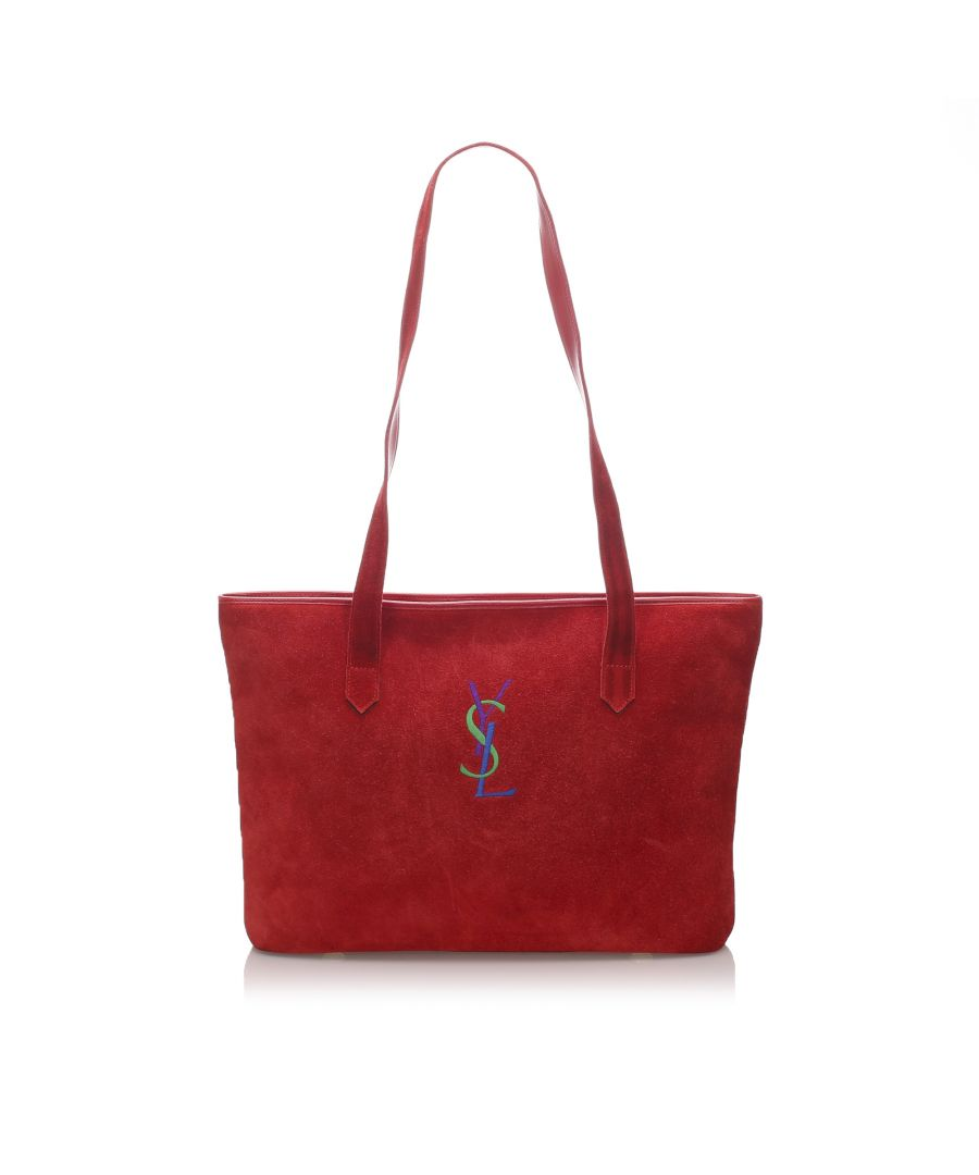 Image for Vintage YSL Suede Monogram Tote Bag Red