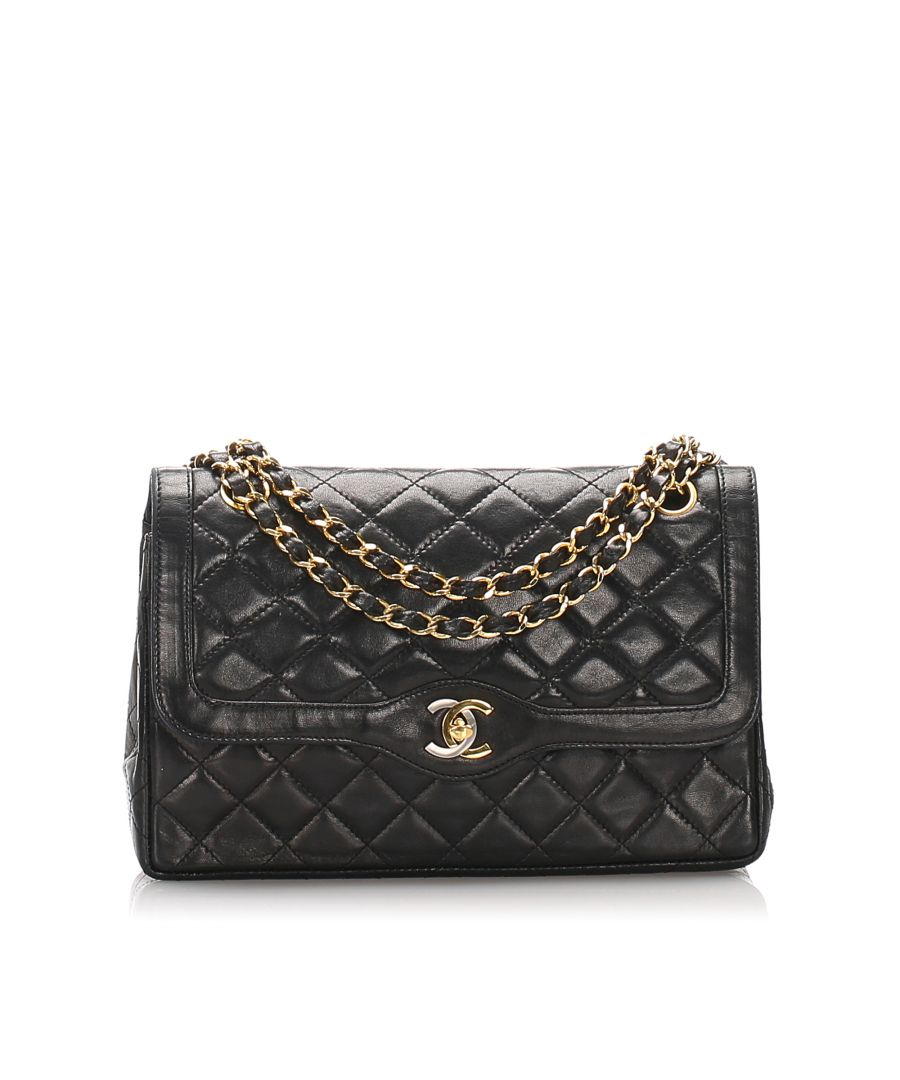 Image for Vintage Chanel Lambskin Leather Double Flap Shoulder Bag Black