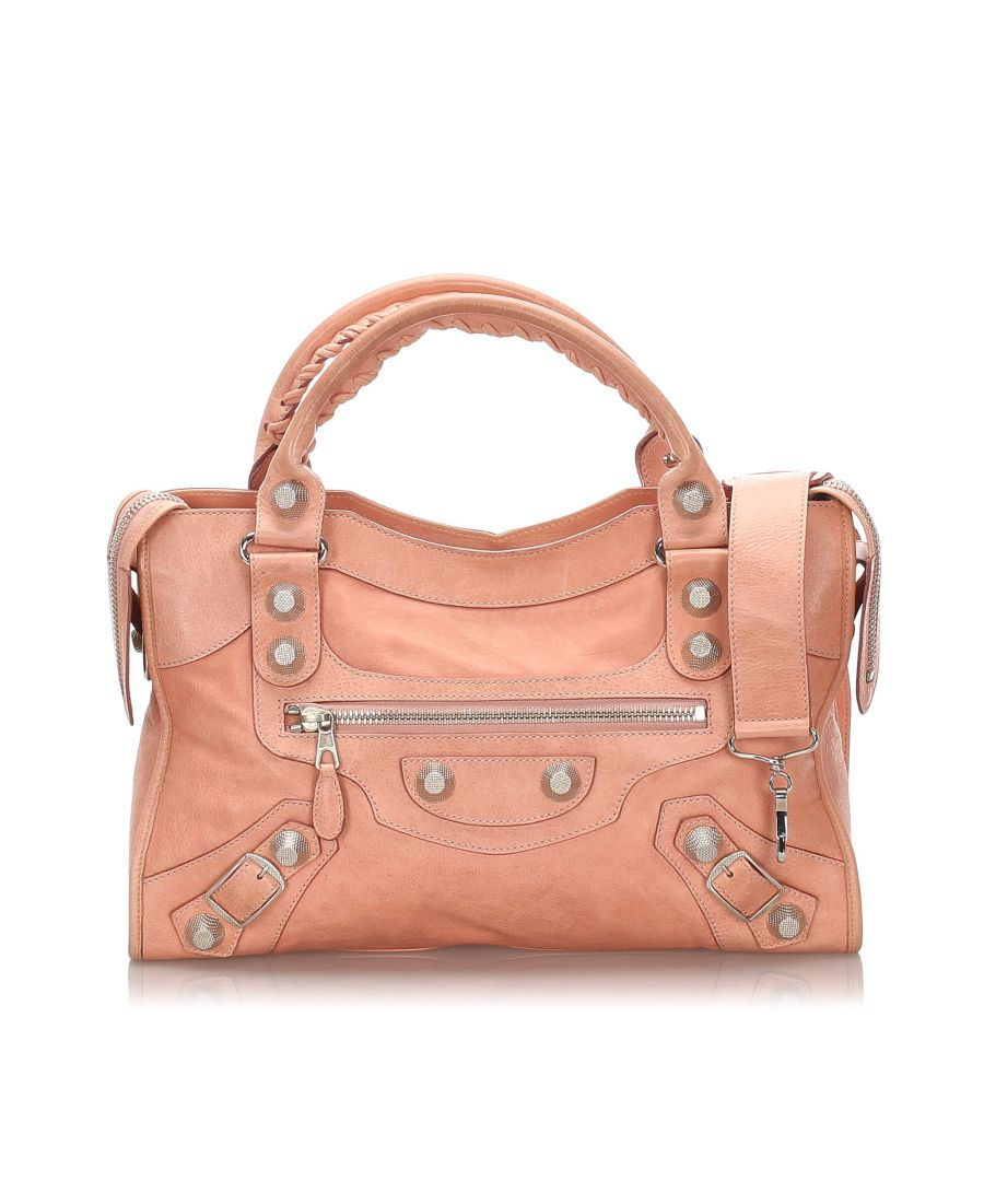 Image for Vintage Balenciaga Leather Motocross Giant City Satchel Pink