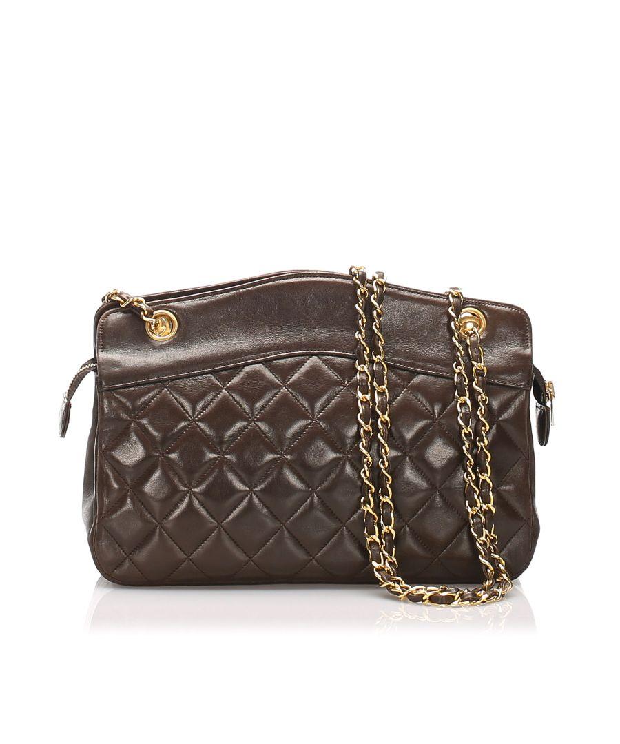 Image for Vintage Chanel Matelasse Lambskin Leather Shoulder Bag Black
