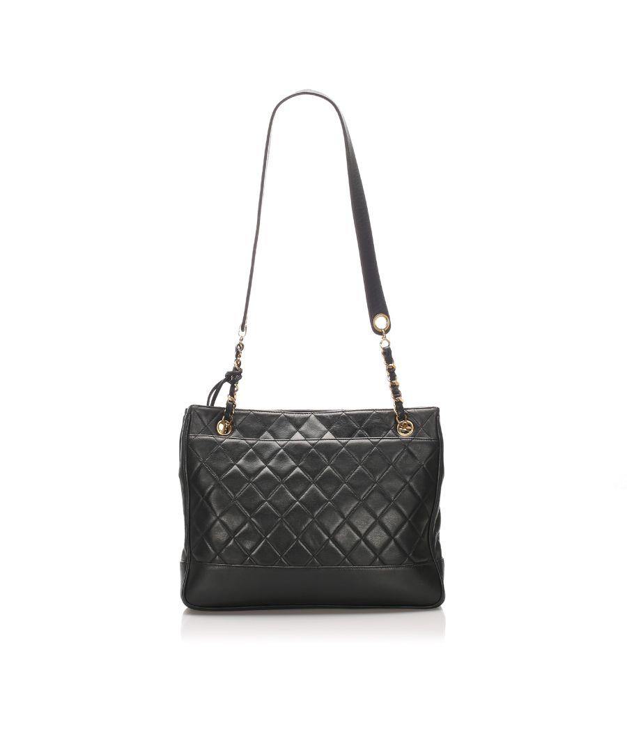 Image for Vintage Chanel Matelasse Lambskin Leather Tote Bag Black