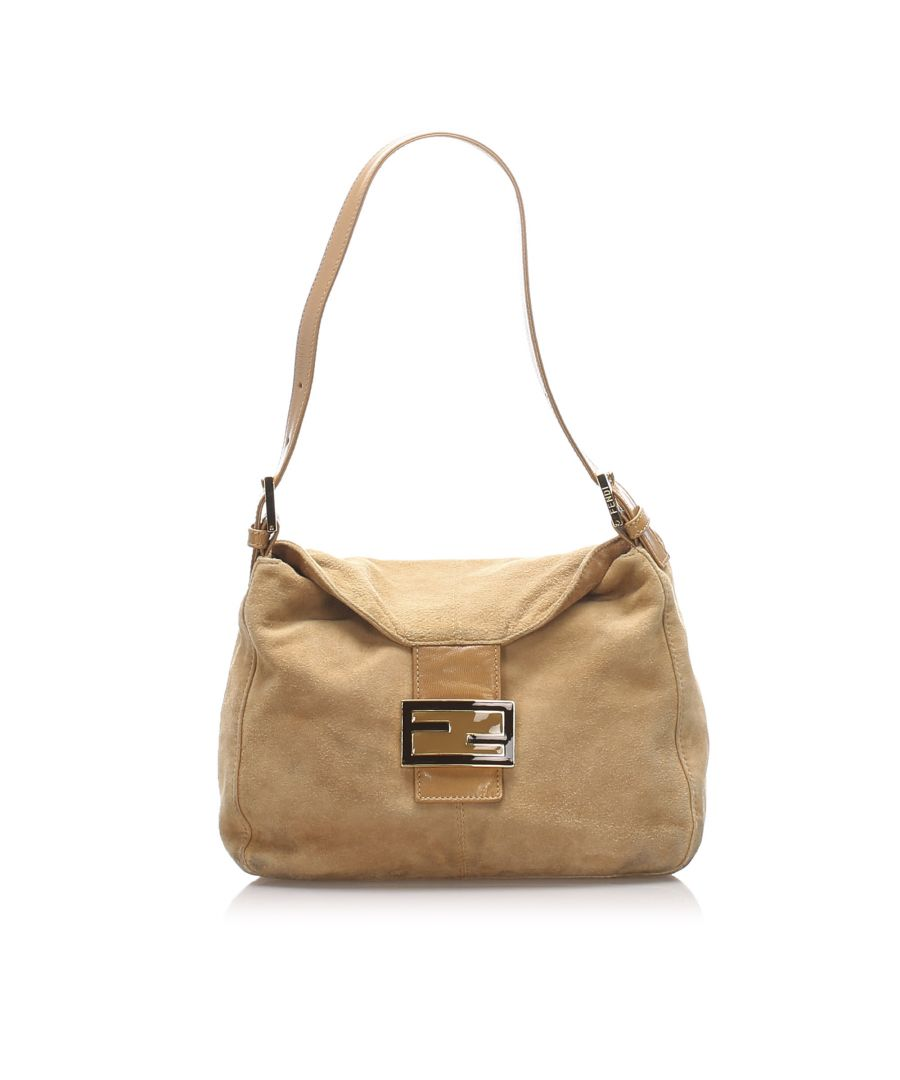 Image for Vintage Fendi Mamma Forever Suede Shoulder Bag Brown