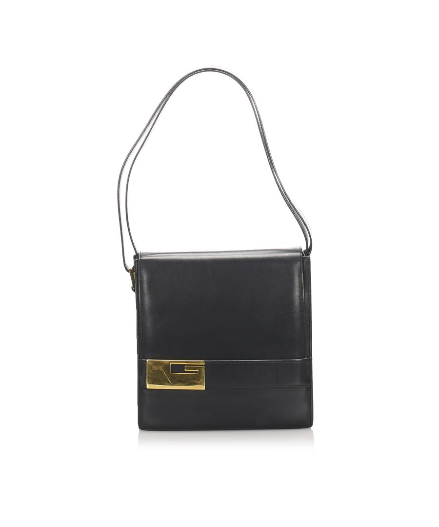 Image for Vintage Gucci Leather Shoulder Bag Black