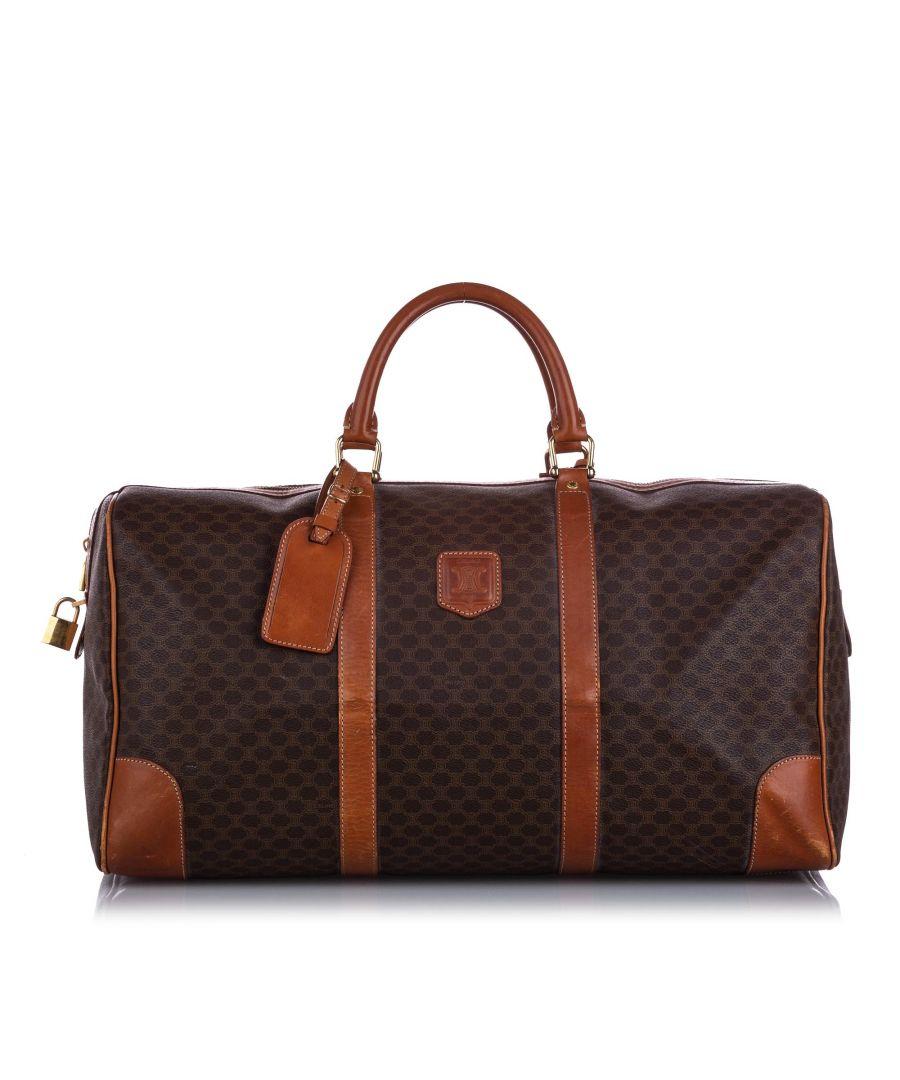 Image for Vintage Celine Macadam Travel Bag Brown