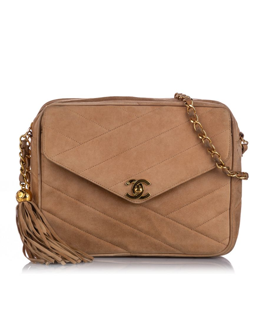 Image for Vintage Chanel CC Quilted Suede Crossbody Bag Brown