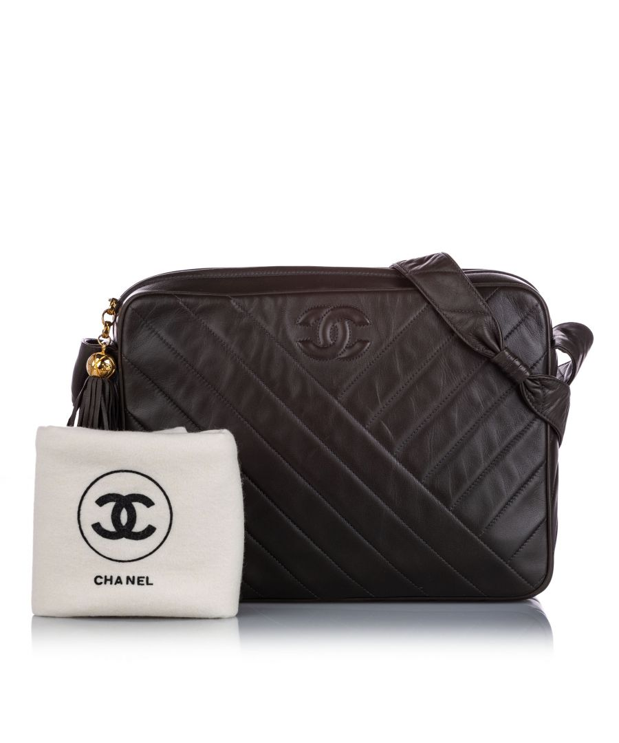 Image for Vintage Chanel CC Quilted Lambskin Leather Crossbody Bag Gray